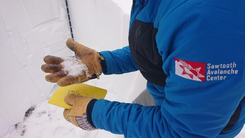 Depth hoar (very weak sugary snow) found at 9700' NW aspect in central boulders.