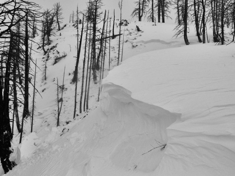 This large natural avalanche failed on a NE facing slope at 8600 in the 4th of July Creek Drainage in the White Cloud Mountains. It failed on weak snow near the ground and was triggered by a collapsing cornice.