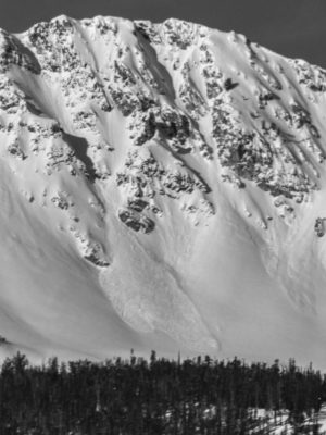 This avalanche was observed on McDonald Peak in the southern Sawtooths. It initiated on an E-facing slope at 9,600'.